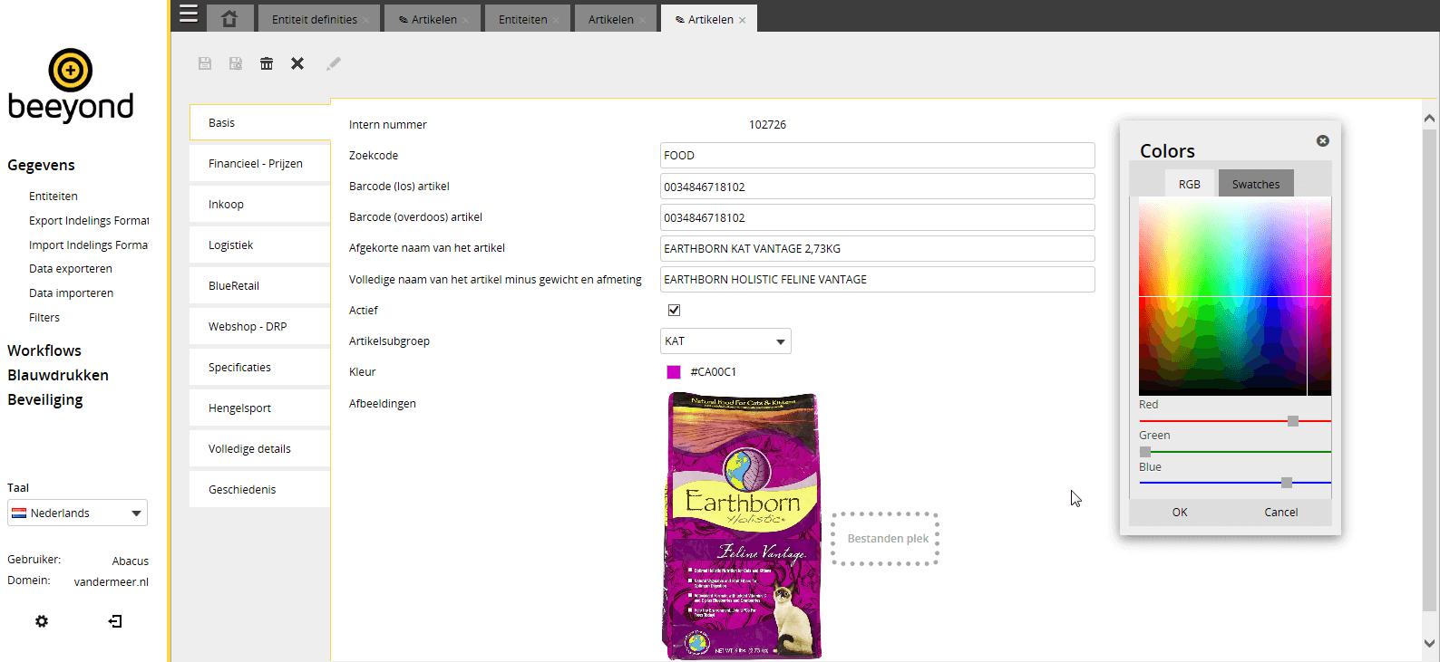 kleur opslaan in datasysteem
